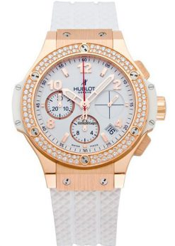 Hublot Big Bang 41mm Porto Cervo Diamonds 18K Rose Gold White Rubber Unisex Watch, 341.PE.230.RW.114 341.PE.230.RW.114