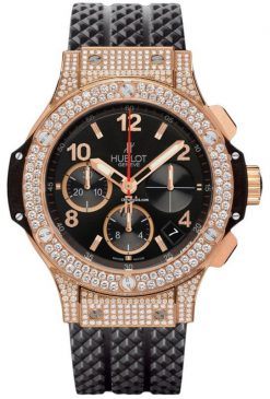 Hublot Big Bang 41mm Diamonds 18K Rose Gold Black Rubber Unisex Watch, 341.PX.130.RX.174 341.PX.130.RX.174