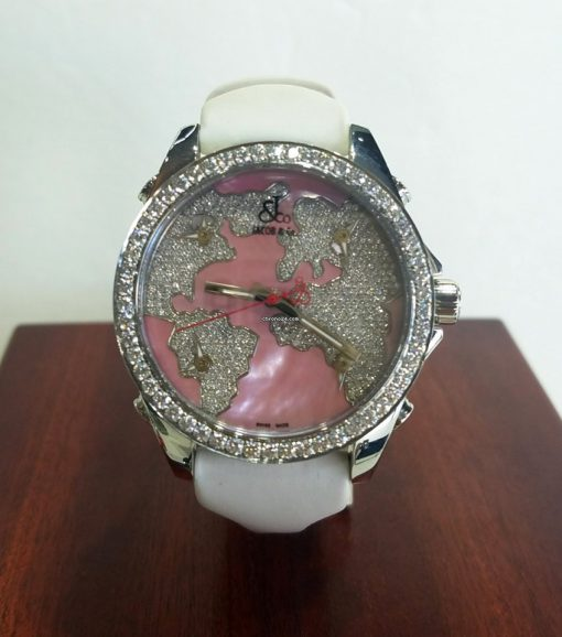 Jacob and Co Five Time Zone Stainless Steel and White Diamonds Watch, JCM47WPBZ 5