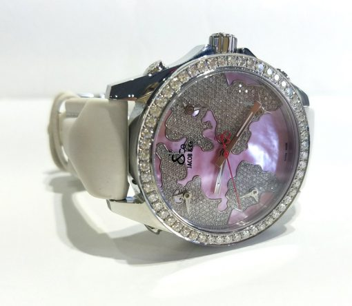 Jacob and Co Five Time Zone Stainless Steel and White Diamonds Watch, JCM47WPBZ 2