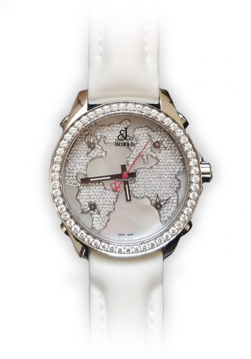Jacob & Co Five Time Zone Stainless Steel and White Diamonds Watch, JCM47WWBZ