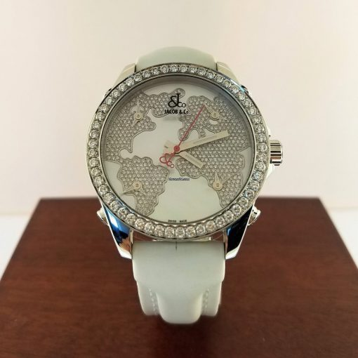 Jacob & Co Five Time Zone Stainless Steel and White Diamonds Watch, JCM47WWBZ 9