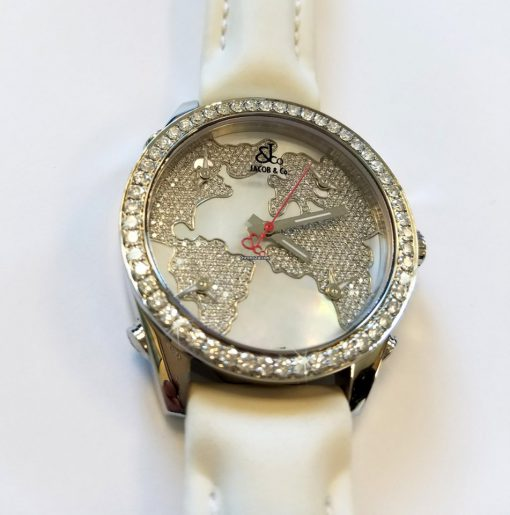 Jacob & Co Five Time Zone Stainless Steel and White Diamonds Watch, JCM47WWBZ 6