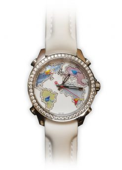 Jacob and Co Five Time Zone Stainless Steel and White Diamonds Watch JCM123BZ