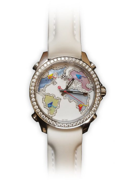 Jacob and Co Five Time Zone Stainless Steel and White Diamonds Watch, JCM123BZ