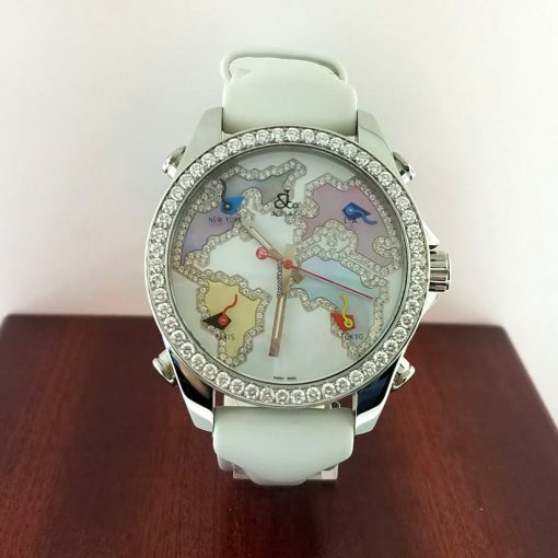 Jacob and Co Five Time Zone Stainless Steel and White Diamonds Watch, JCM123BZ 10