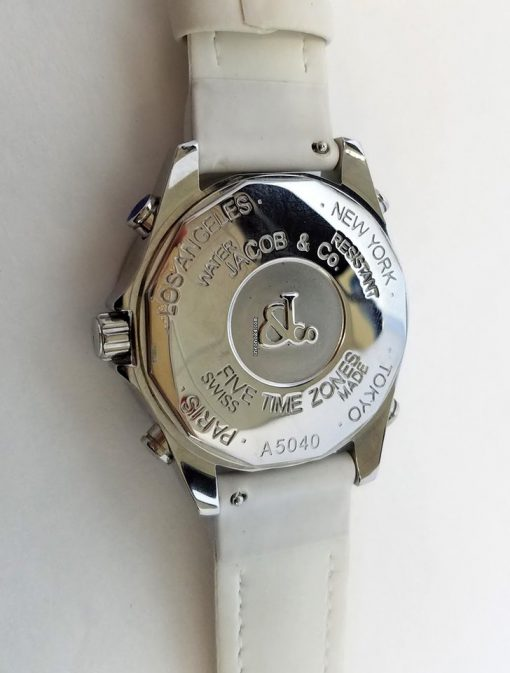 Jacob and Co Five Time Zone Stainless Steel and White Diamonds Watch, JCM123BZ 8