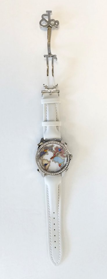 Jacob and Co Five Time Zone Stainless Steel and White Diamonds Watch, JCM123BZ 7