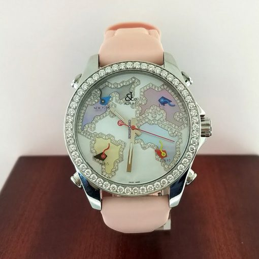 Jacob and Co Five Time Zone Stainless Steel and White Diamonds Watch, JCM123BZ 4