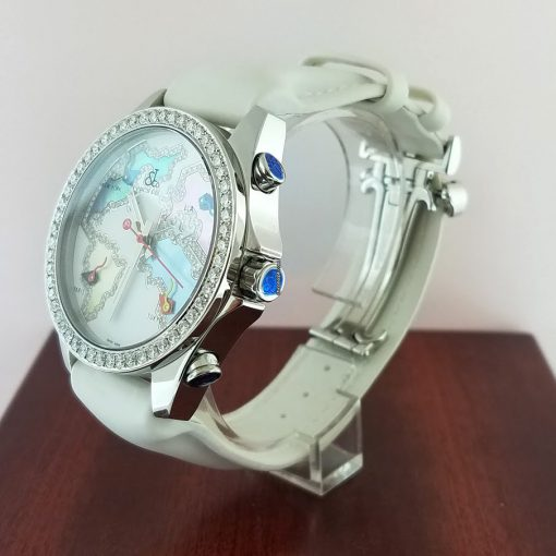 Jacob and Co Five Time Zone Stainless Steel and White Diamonds Watch, JCM123BZ 3