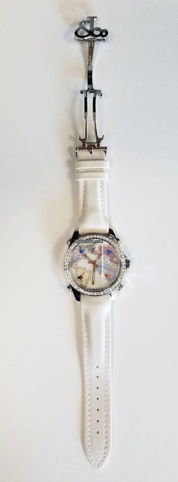 Jacob and Co Five Time Zone Stainless Steel and White Diamonds Watch, JCM123BZ 2