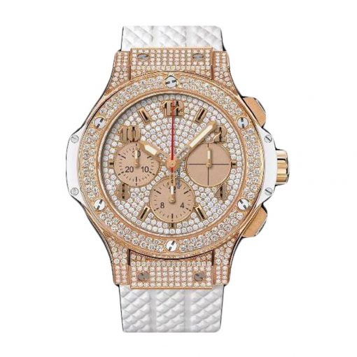 Hublot Big Bang 41mm White Gold Diamonds Rubber Unisex Watch, 341.PE.9010.RW.1704