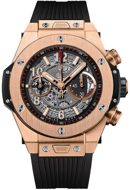 Hublot Big Bang Unico 18K Rose Gold Rubber Automatic Chronograph Men`s Watch, 411.OX.1180.RX