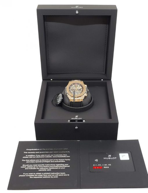 Hublot Big Bang Unico 18K Rose Gold Rubber Automatic Chronograph Men`s Watch, 411.OX.1180.RX 2