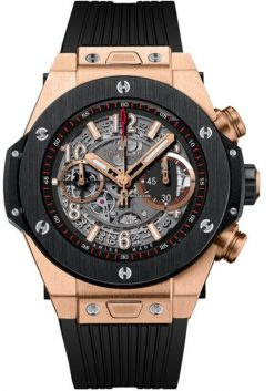 Hublot Big Bang 45 mm Unico 18k Rose Gold Ceramic Rubber Men`s Watch 411.OM.1180.RX