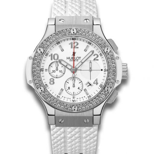 Hublot Big Bang 41mm Steel Diamonds Rubber White Ladies Watch, 342.SE.230.RW.114