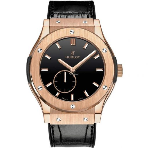 Hublot Classic Fusion Classico 18k Rose Gold Automatic Leather Men's Watch, 515.OX.1280.LR