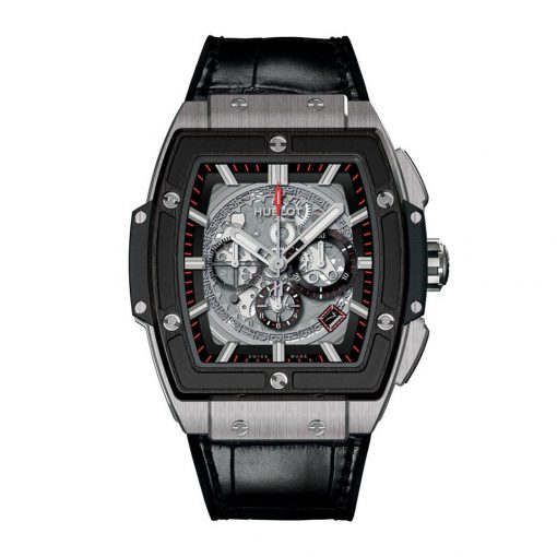 Hublot Spirit of Big Bang 45mm Ceramic Titanium Leather Chronograph Men's Watch, 601.NM.0173.LR