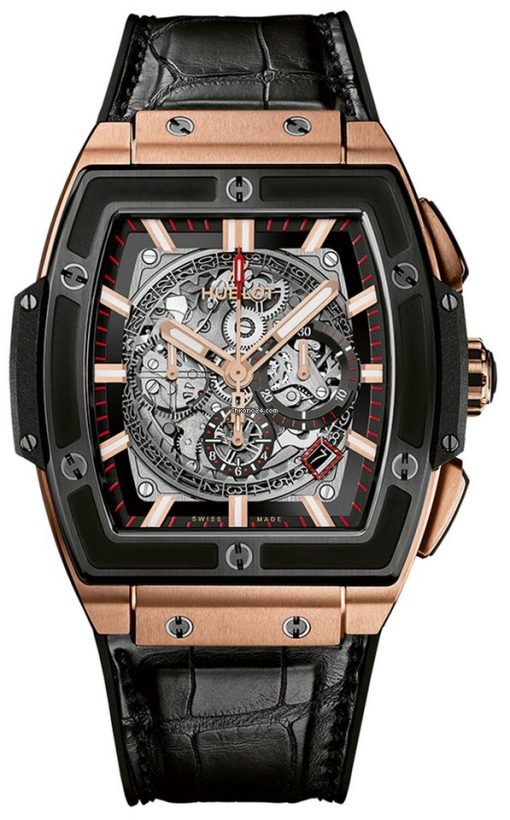 Hublot Spirit of Big Bang 45mm Chronograph Ceramic 18K King Gold Leather Men's Watch, 601.OM.0183.LR