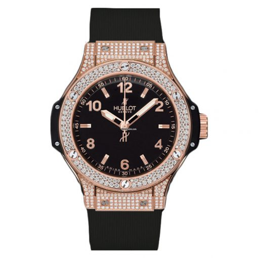 Hublot  Big Bang 38mm 18K Rose Gold Black Rubber Ladies Watch, 361.PX.1280.RX.1704