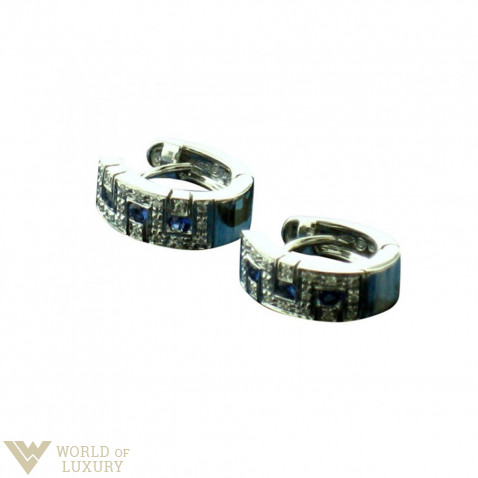 Salvini 18K White Gold Ladies Earrings with Diamonds and Sapphires, 20033411
