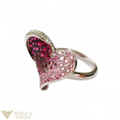 Chopard 18k White Gold Pink Sapphire Ruby Diamond Heart Ladies Ring, 824299-1308 824299-1308