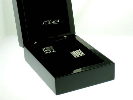 S.T.Dupont Stainless Steel Cufflinks with 32 Diamonds, 005416