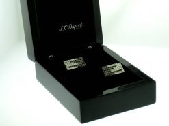 "S.T.Dupont ""Black Rain"" Stainless Steel Cufflinks with 72 Diamonds, 005415 005415"