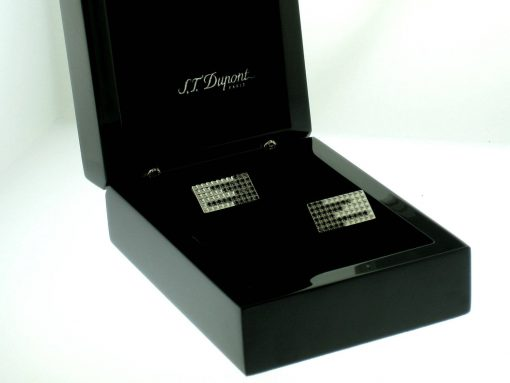 "S.T.Dupont ""Black Rain"" Stainless Steel Cufflinks with 72 Diamonds, 005415"