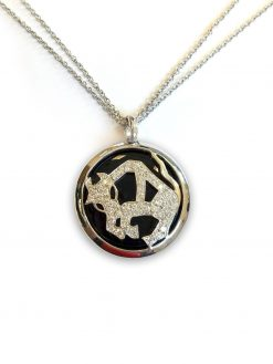 Luca Carati The Zodiak Taurus 18k White Gold Diamonds Onyx Unisex Necklace taurus