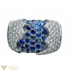 Damiani Fiordi Ring 18k White Gold Diamonds Sapphires Ladies Ring, 20010660 20010660