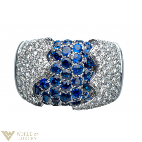 Damiani Fiordi Ring 18k White Gold Diamonds Sapphires Ladies Ring, 20010660