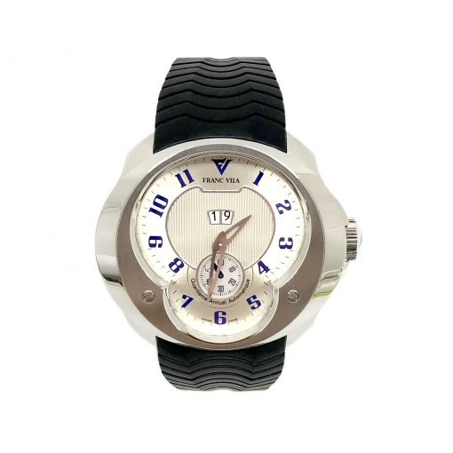 Franc Vila Esprit Unique Stainless Steel Rubber Men's Watch, 8Q.DHES.SLVR.RHH