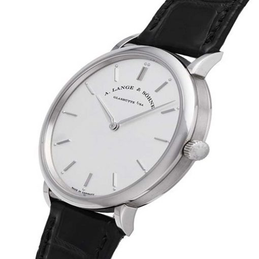 A Lange and Sohne Saxonia Thin Black Leather Men's Watch, 211.026 3