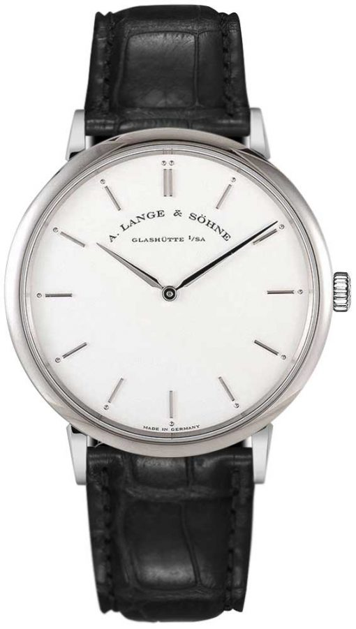 A Lange and Sohne Saxonia Thin Black Leather Men's Watch, 211.026