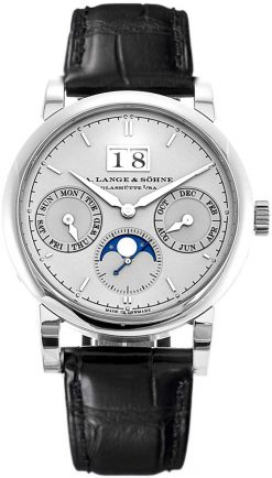 A Lange and Sohne Saxonia Annual Calender Black Leather Men's Watch 330.025