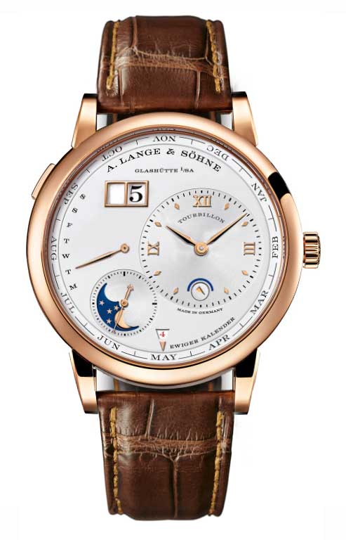 A Lange and Sohne Lange 1 Tourbillon Perpetual Calendar Rose Gold Brown Leather Men's Watch, 720.032