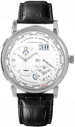 A Lange and Sohne Lange 1 Time Zone Black Leather Men's Watch 116.039