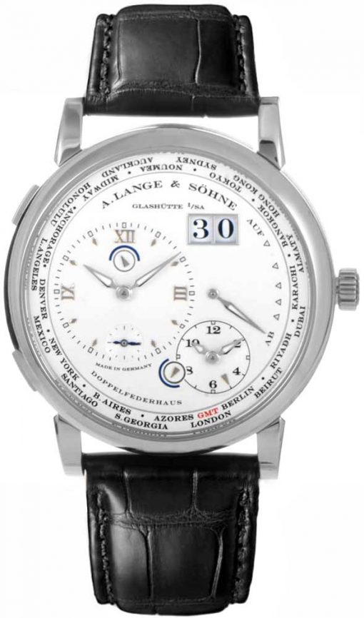 A Lange and Sohne Lange 1 Time Zone Black Leather Men's Watch, 116.039