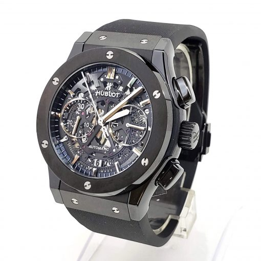 Hublot Classic Fusion Aero Chronograph Black Magic Ceramic Rubber Men's Watch, 525.CM.0170.RX 4