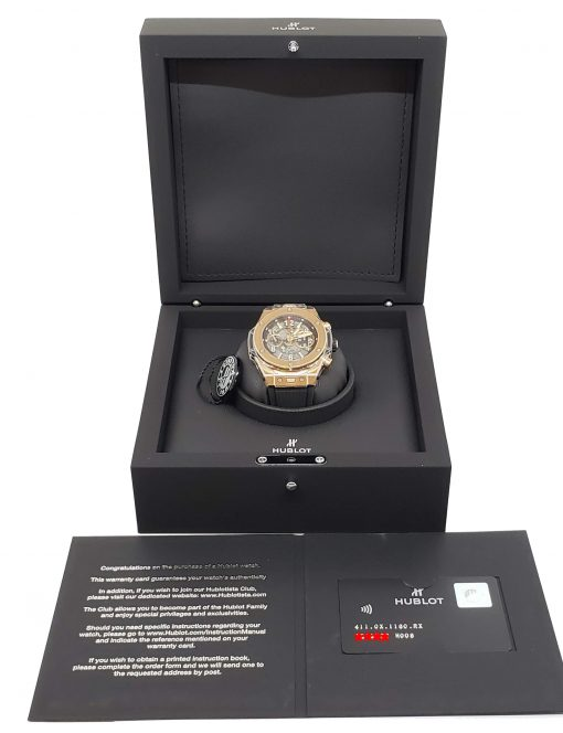 Hublot Big Bang Unico 18K Rose Gold Rubber Automatic Chronograph Men`s Watch, 411.OX.1180.RX 10
