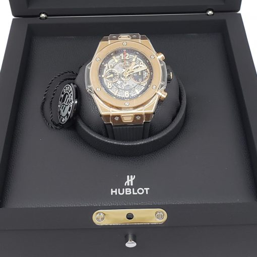 Hublot Big Bang Unico 18K Rose Gold Rubber Automatic Chronograph Men`s Watch, 411.OX.1180.RX 9