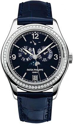 Patek Philippe Complications Annual Calendar Moonphase 18k White Gold Diamonds Men's Watch 5147G-001
