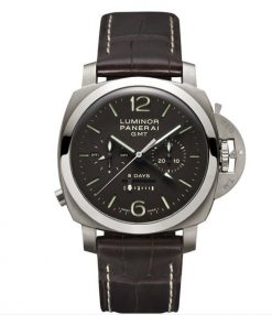 Officine Panerai Specialities Luminor 1950 Chrono Monopulsante 8 Days GMT Titanio Leather Men`s Watch, PAM00311 PAM00311