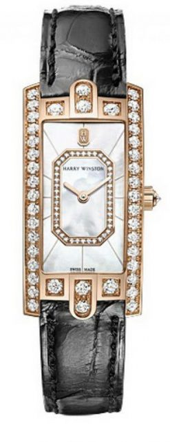 Harry Winston Avenue C Emerald Rose Gold Watch AVCQHM19RR037