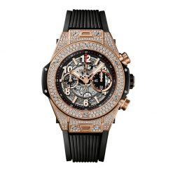 Hublot Big Bang Unico 18K Rose Gold Diamonds Rubber Titanium Men`s Watch 411.OX.1180.RX.1704