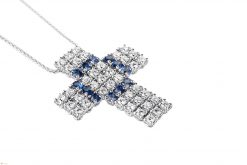 Damiani Cross 18K White Gold Diamonds Sapphires Pendant 20008156