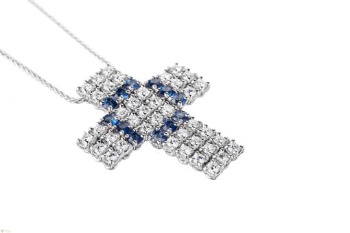 Damiani Cross 18K White Gold Diamonds Sapphires Pendant, 20008156