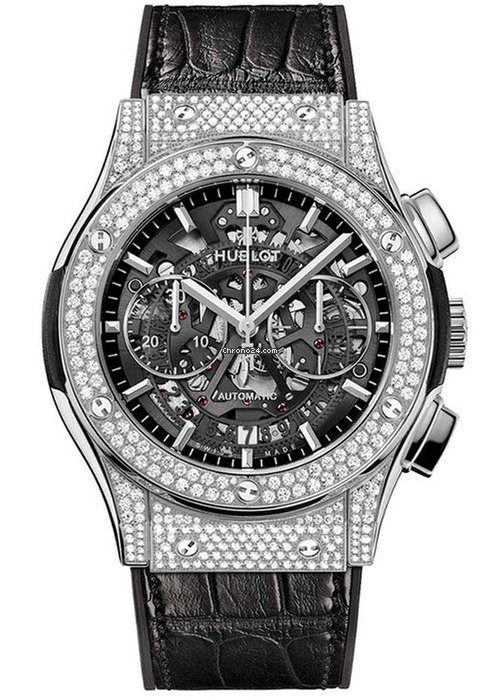 Hublot Classic Fusion Aero Titanium Diamonds Pave Men`s Watch, 525.NX.0170.LR.1704