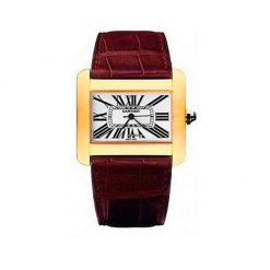 Cartier Tank Divan YG Medium Ladies Yellow Gold 18K Ladies Watch preowned.W6300556